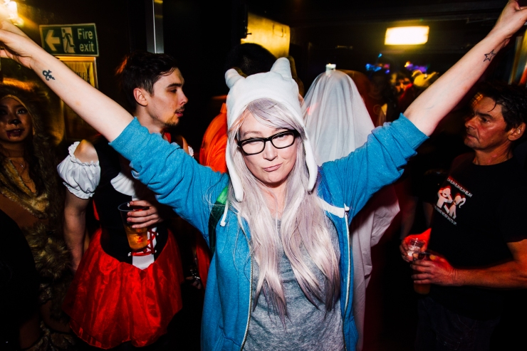 Glasgow nightlife in Cathouse rock club during Halloween by Party Photographer Lee Jones