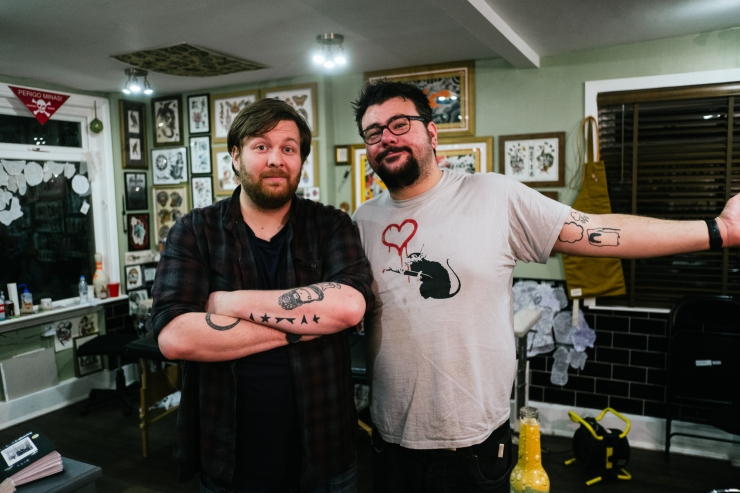 Pizza and Birthday Tattoos by Lee Jones